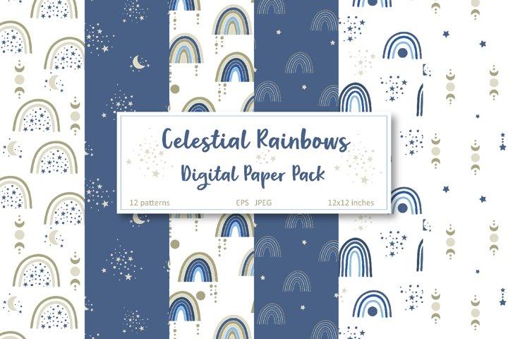 Celestial Rainbow Paper Pack, Boho Rainbow Digital Paper