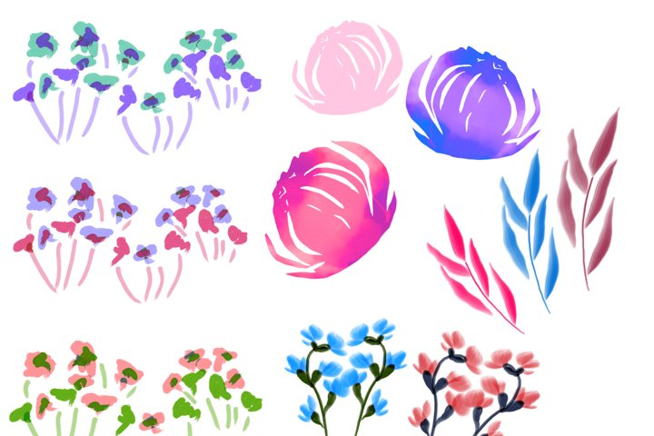 Spring Florals, Painted Clipart Flowers, Botanical, Watercolor, Peony Wild Flowers