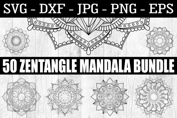 Mandala SVG - 50 Zentangle Mandala SVG EPS PNG Zentangle SVG