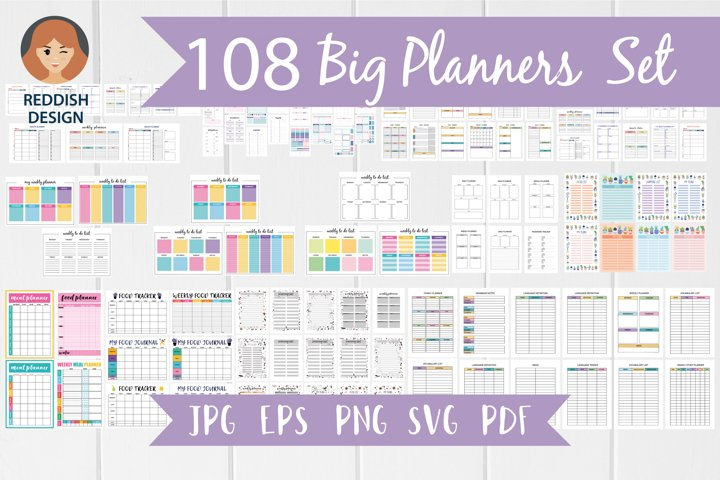 108 Planner pages A4 size, printable digital templates set