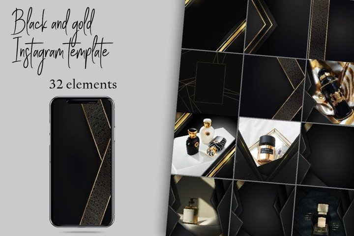 Black and gold instagram template.Canva Over templates