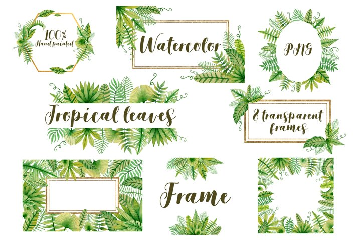 Tropical leaves watercolor frames.