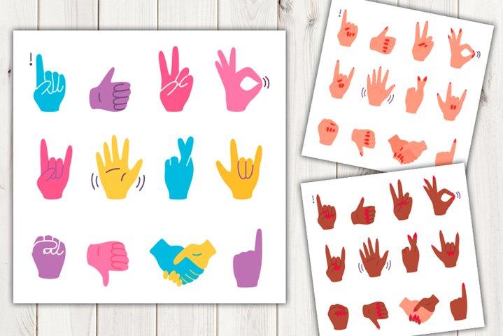 Vector cartoon hand gestures