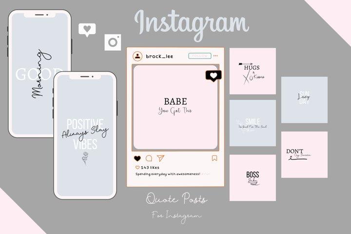 Grey, Black & Pink Quote Instagram Posts