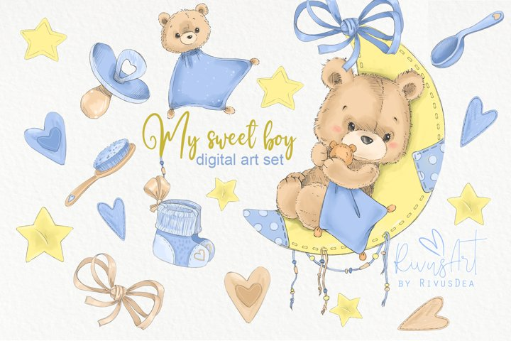 Cute baby boy nursery room graphics set. Teddy bear on moon.