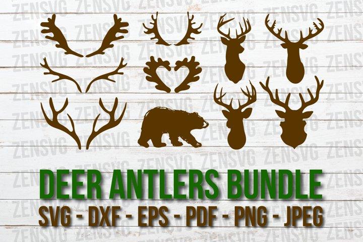 10 Deer Antlers Cut Files, Bear Silhouette