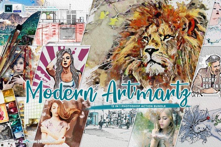 Modern Artmartz - 12 in 1 Photoshop Action Bundle