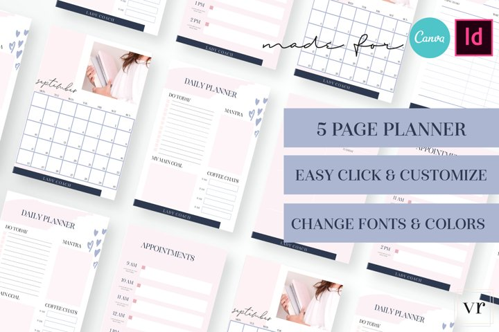 Lady Coach Planner Canva Template