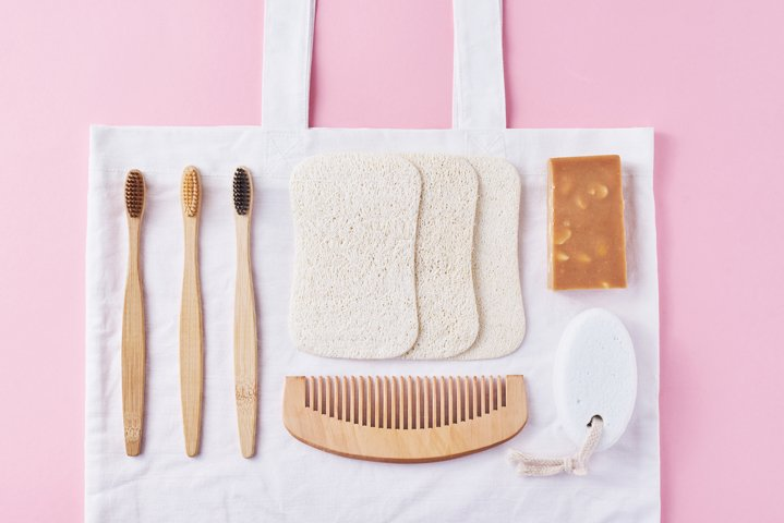 Set of zero waste items on pink background
