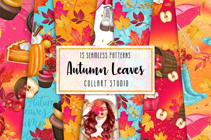 Autumn digital paper, fall seamless pattern, surface pattern