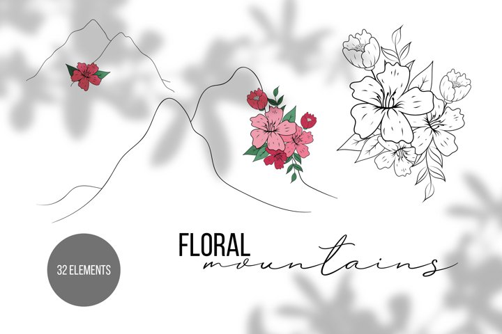 Floral Mountain Prints Creator, Line Art Wall Prints