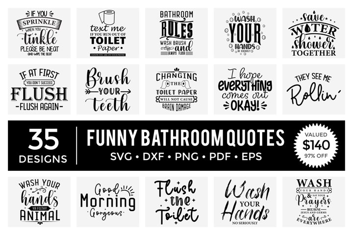 Funny Bathroom Quotes SVG Bundle, Bathroom Signs SVG Bundle