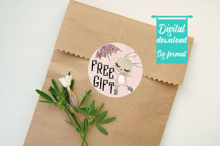 Free Gift Sticker-Round Sticker-Bunny-Fall Themed