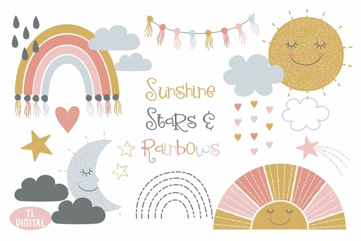 Sunshine, Stars and Rainbows Clipart Set - 45 PNG Graphics