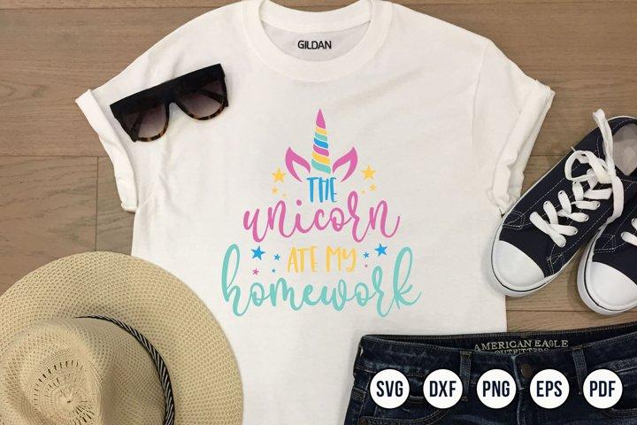 The Unicorn Ate My Homework | Unicorn SVG | Unicorn Design