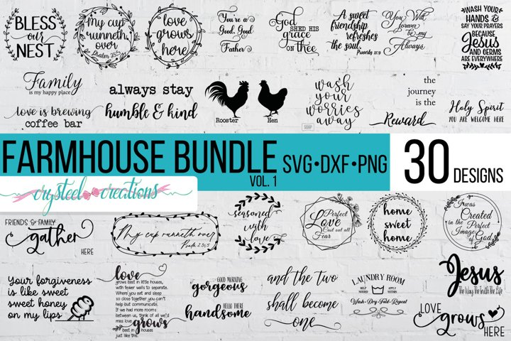Farmhouse Bundle Vol. 1 30 Designs SVG, DXF, PNG, a few EPS