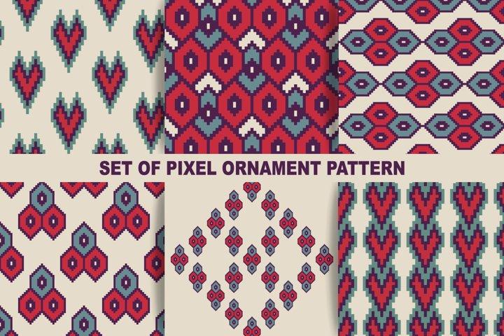Seamless pattern template. Pixel art 8 bit