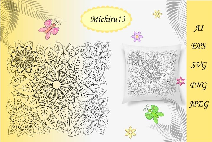 Floral zentangle, floral background, coloring book