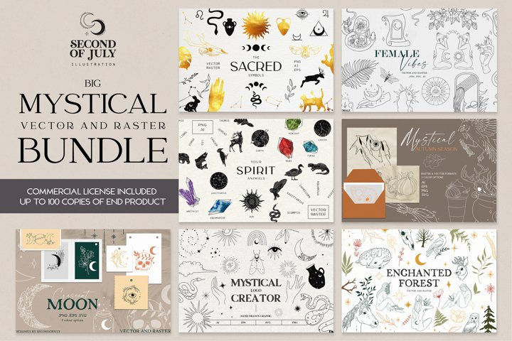 Mystical vector and raster Bundle, Witch clipart