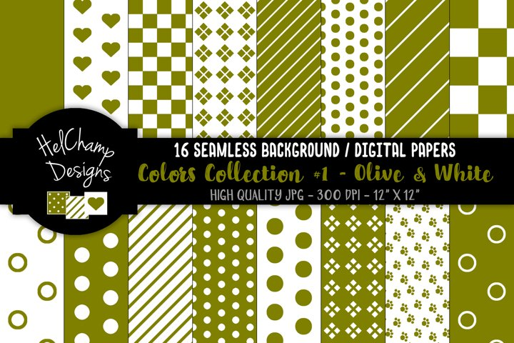 16 seamless Digital Papers - Olive and White - HC102