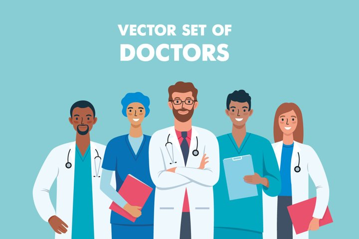 Vector set of doctors characters illustrations