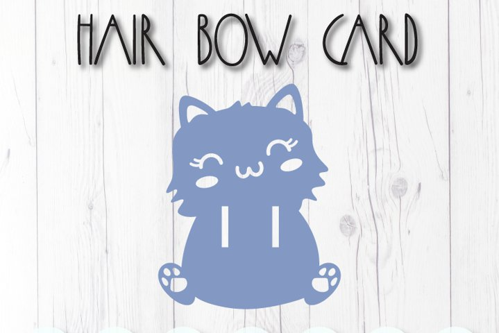 Cat display card for hair bow clip