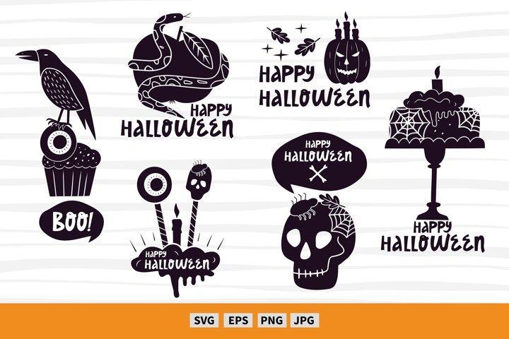 6 Halloween craft designs. Halloween art svg. Vector clipart