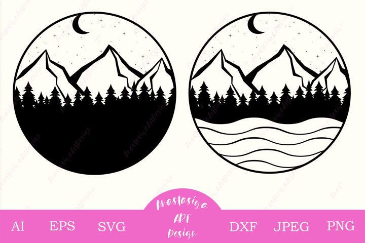 Mountains and forest svg, Adventure logo svg, Camping dxf