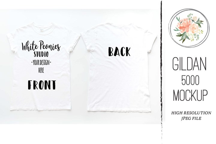 White GILDAN 5000 Shirt Mockup Back and Front