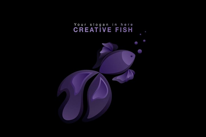 Fish violet logo Vector Template