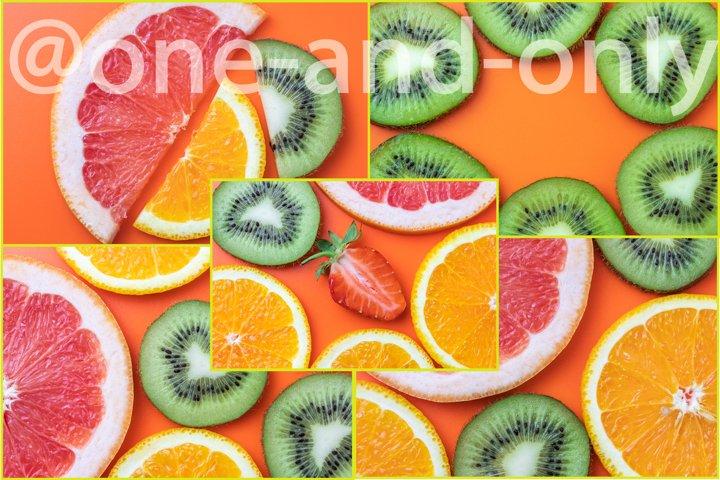 Set of 6 photos. Citrus fruits backgrounds.