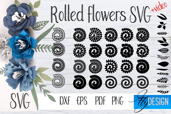 Rolled Flowers SVG. Rolled Flower Template. 3D Paper Flowers