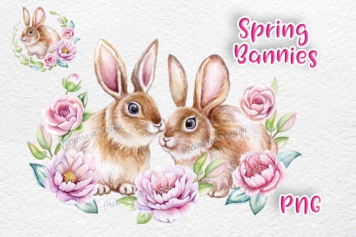 Spring Bunnies. Watercolor little animals, Easter