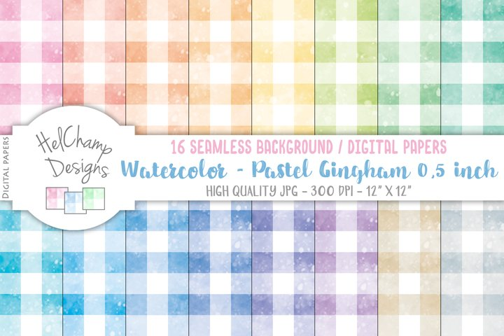 16 seamless Digital Papers - Pastel Gingham 0,5 inch - HC111