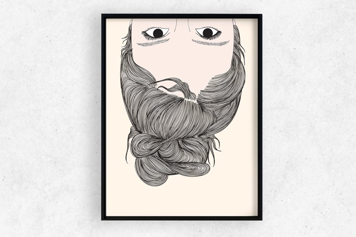 Art Print   Wall art Woman tied the hairstyle upside down