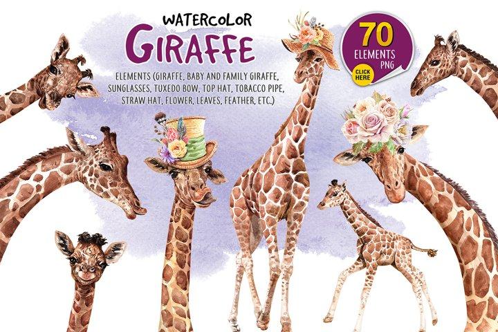 Watercolor painting giraffe and accessories. Giraffe paint