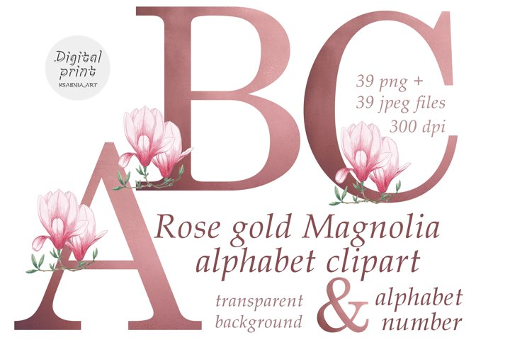 Rose Gold Alphabet Clipart Collection of Letters and Numbers