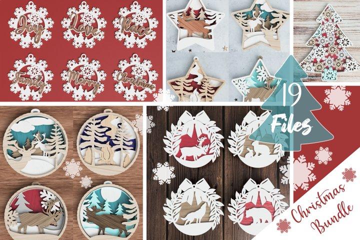 Christmas ornament laser cut file Bundle of 19