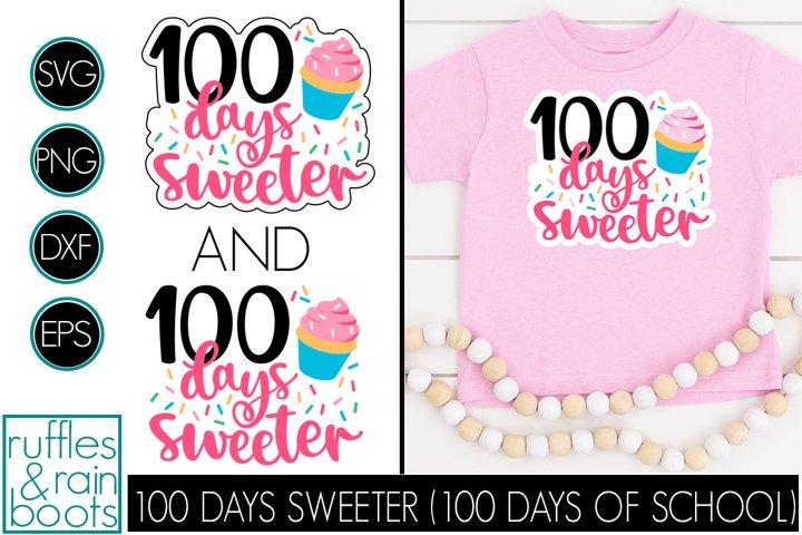 100 Days Sweeter SVG - Cupcake School Design for Kids