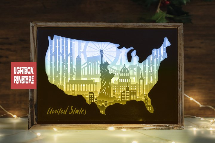 #151 United Stage Map- 3d paper cut light box templates