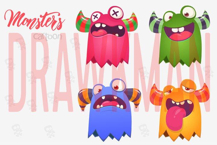 Cartoon monsters. Vector monsters pack