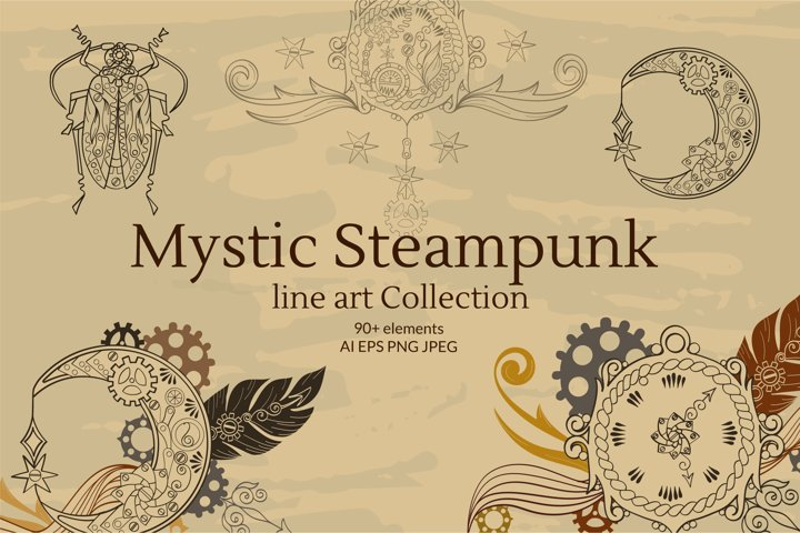 Linear Mystic Steampunk Symbol Collection