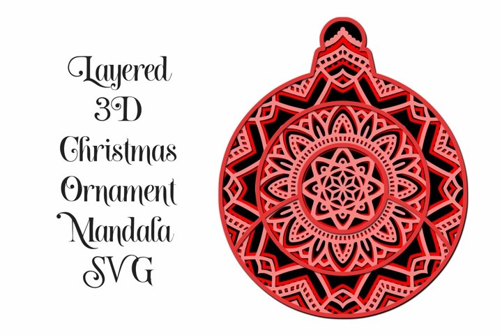 Christmas Ornament Mandala 3D Layered SVG - 4 Layers