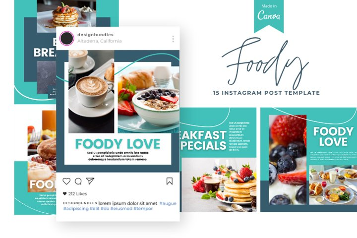 Foody 15 Instagram Square Canva Templates