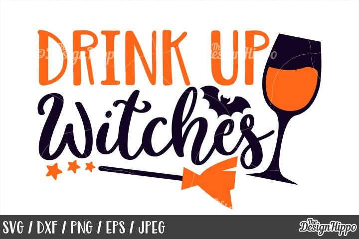 Drink up witches, SVG, Halloween, Witch broom, Wine SVG, PNG
