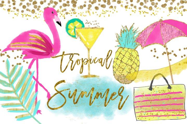 Flamingo Clipart, Pineapple Tropical clip art