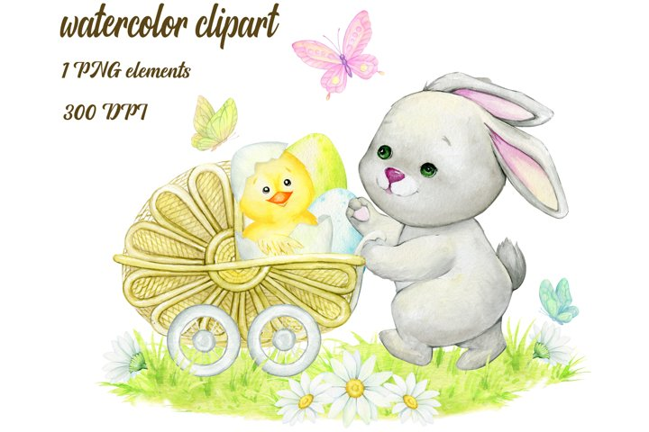Bunny Watercolor Clipart, Rabbit Clipart, Easter Bunny, Baby