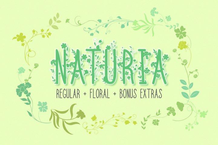 Floral Font | Flowers Font | Naturia - Thin Font with Bonus