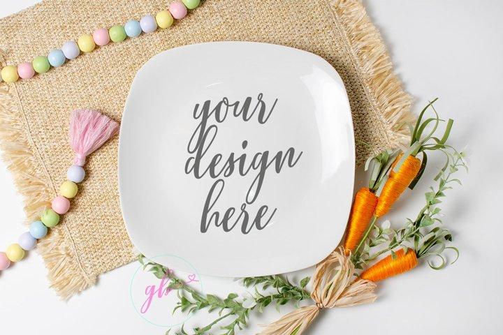 Easter plate mock up, Spring mock up, Carrots for bunny mock