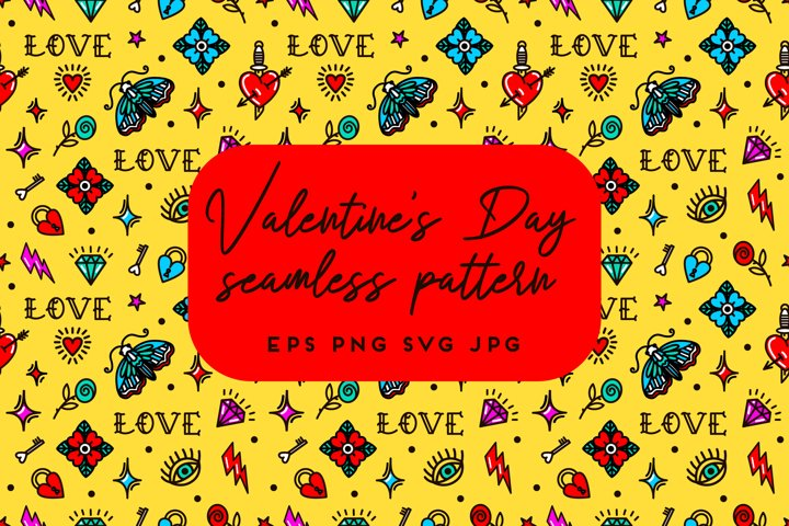 Valentines Day old school style seamless pattern | Part 5